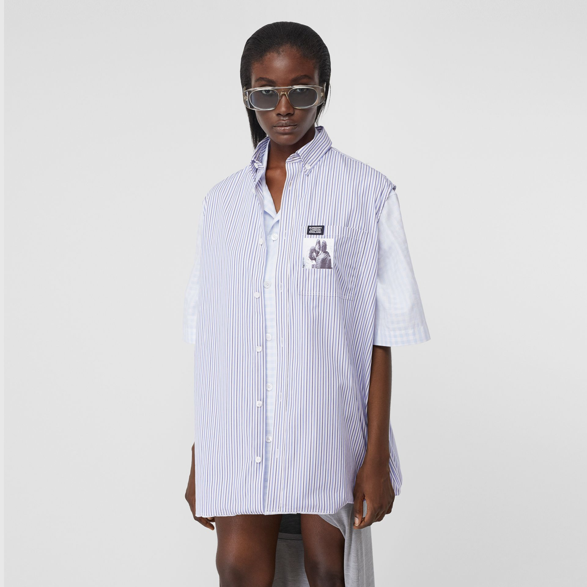 Striped and Gingham Oversized Double Shirt in Pale Blue - Women | Burberry - gallery image 5