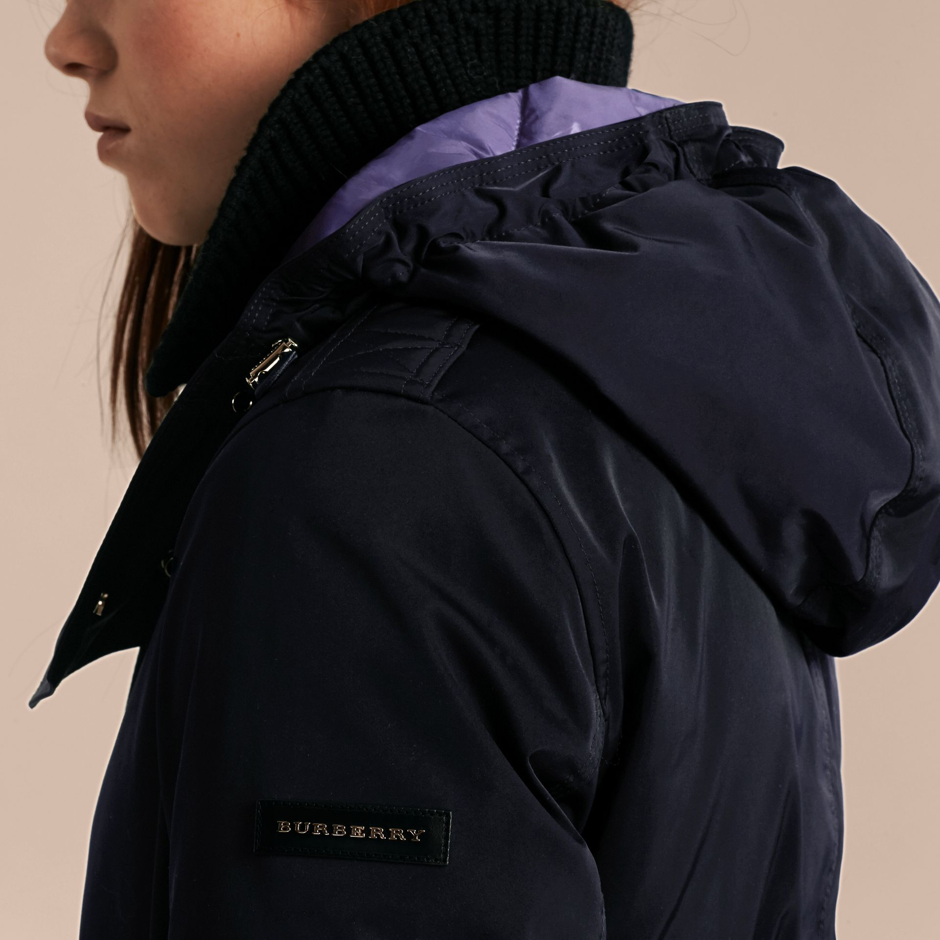 Navy Down-filled Parka Coat with Detachable Fur Trim Navy - gallery image 5