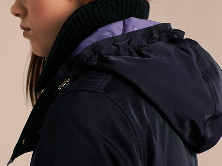 Navy Down-filled Parka Coat with Detachable Fur Trim Navy - cell image 4
