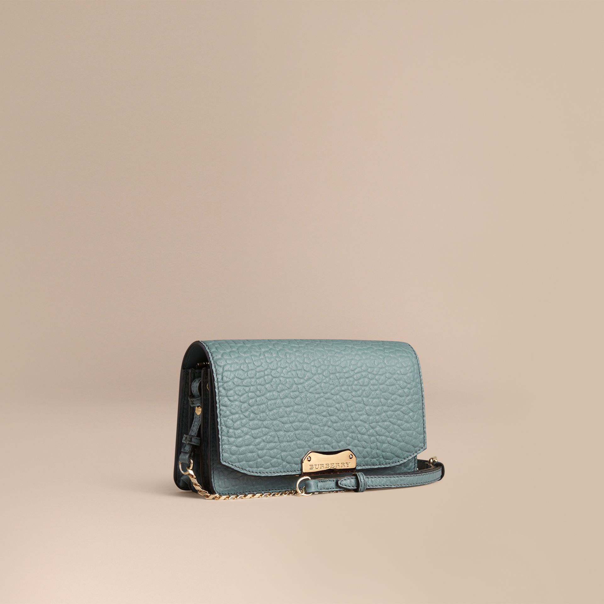 Celadon blue Signature Grain Leather Clutch Bag with Chain - gallery image 1