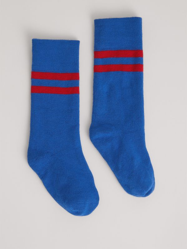 Tipped Cotton Blend Socks in Bright Blue | Burberry United States - cell image 3