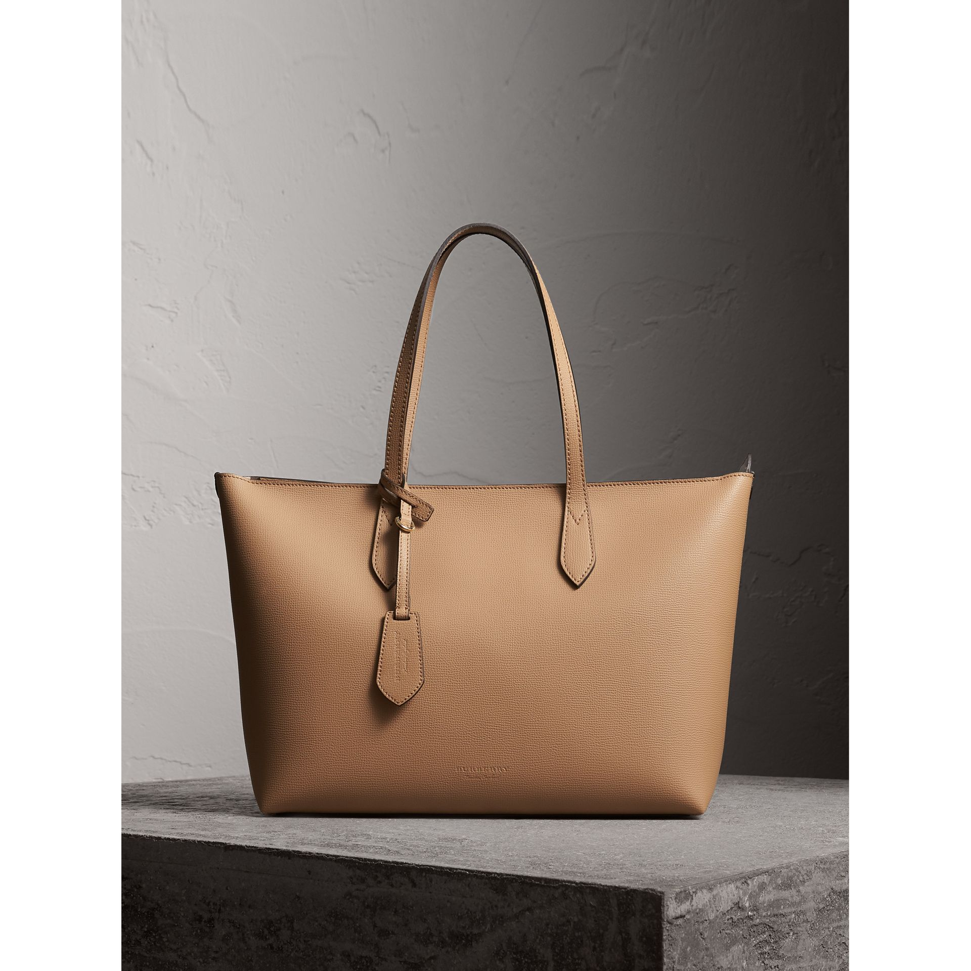 Medium Coated Leather Tote in Mid Camel - Women | Burberry - gallery image 1
