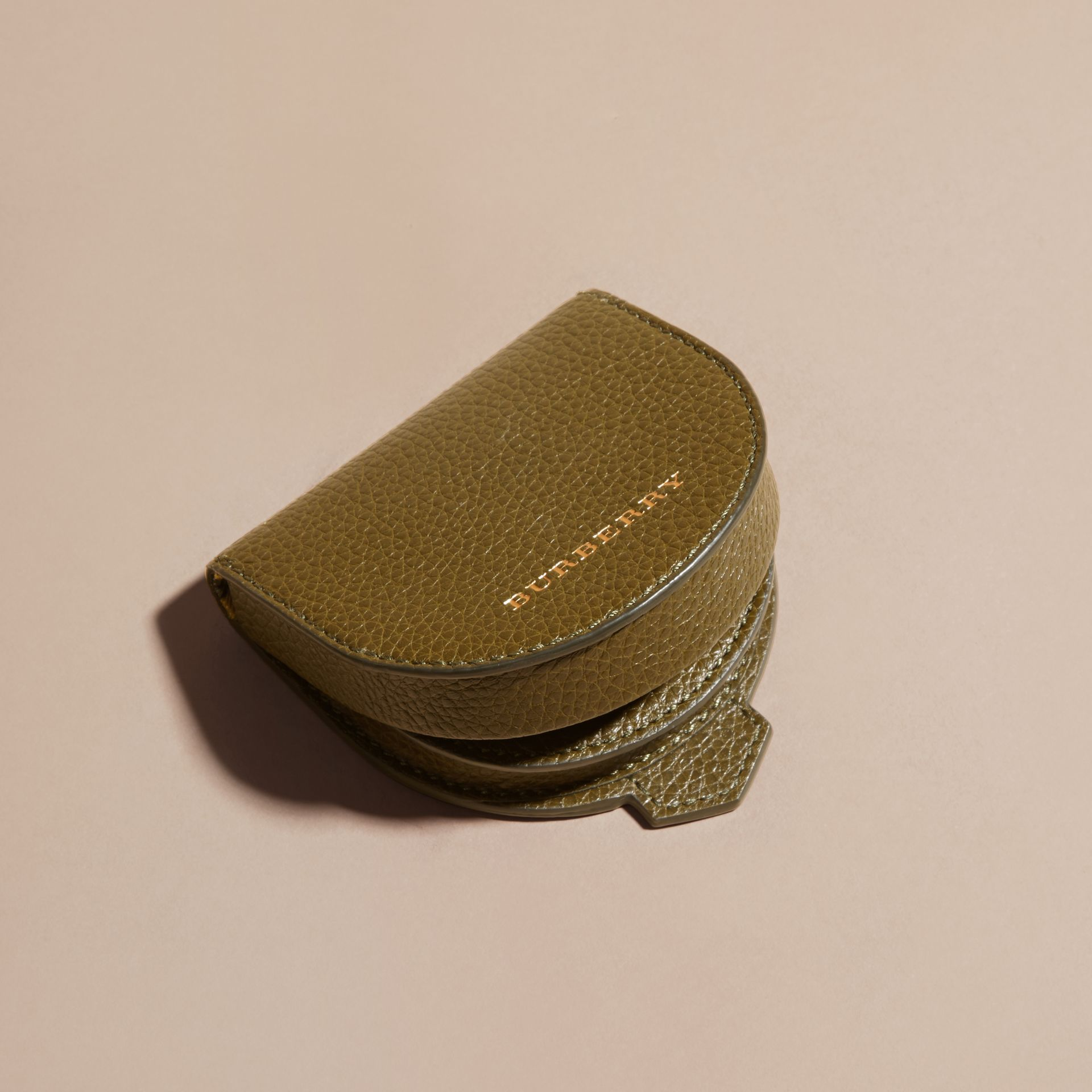 Olive green Grainy Leather Coin Case Olive Green - gallery image 3