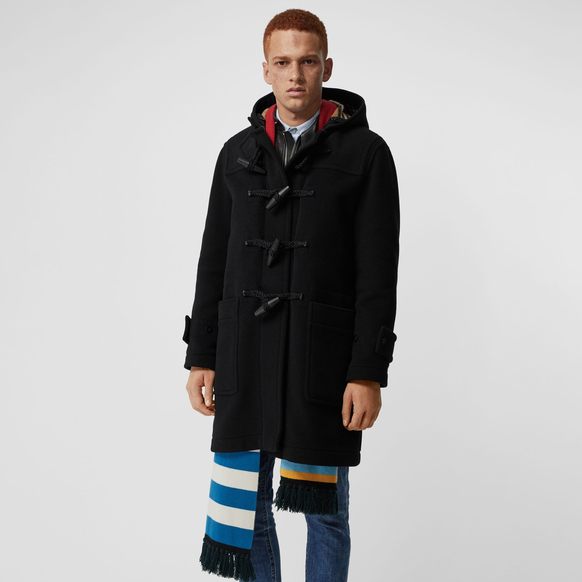 Vintage Check Detail Wool Blend Hooded Duffle Coat in Black - Men | Burberry Australia - gallery image 5