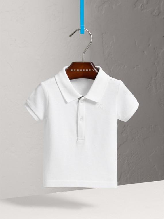 Camisa polo de algodão piquê (Branco)