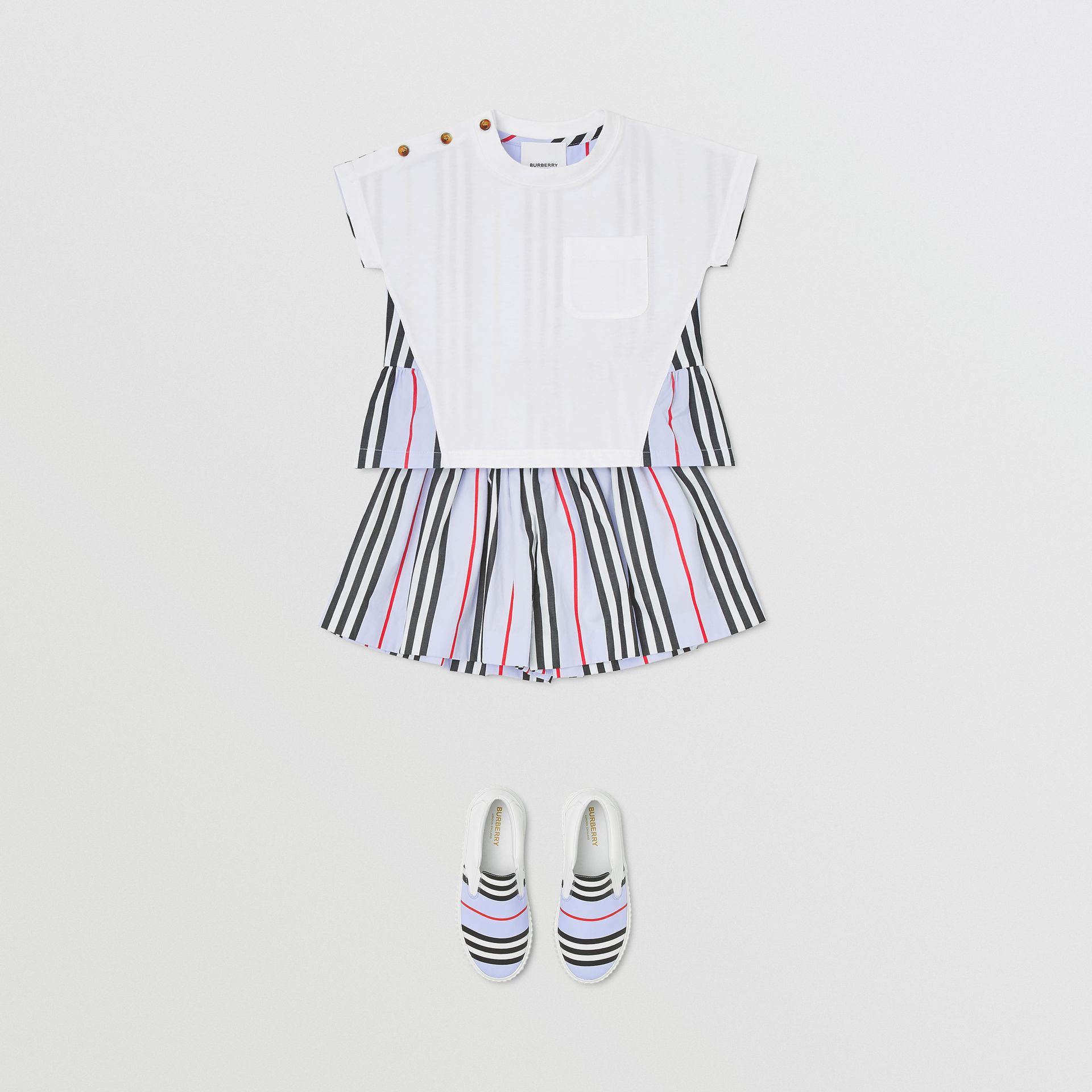 Icon Stripe Panel Cotton T-shirt in White/pale Blue - Children | Burberry - gallery image 2