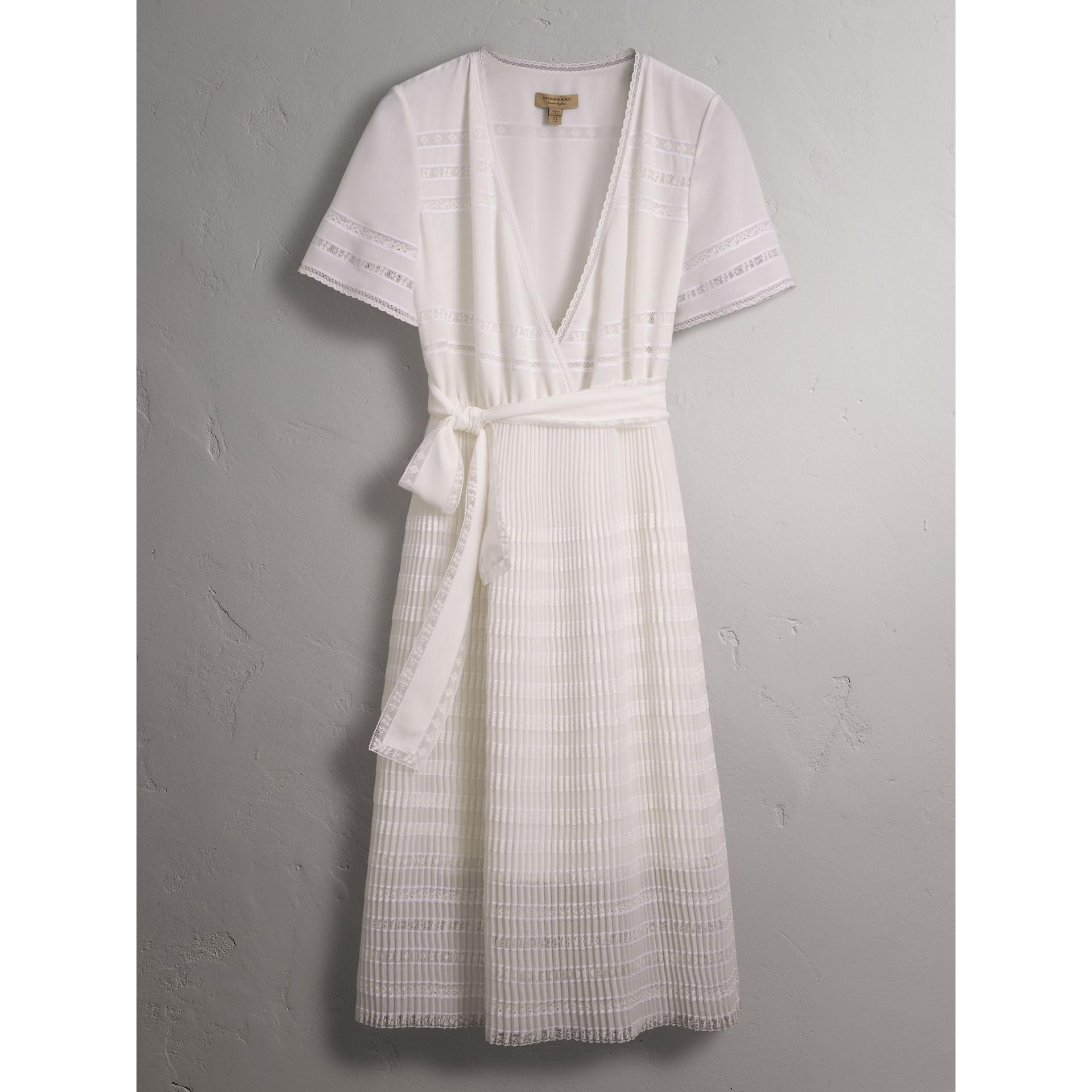 Pleated Georgette Wrap Dress in Natural White - Women | Burberry - gallery image 4