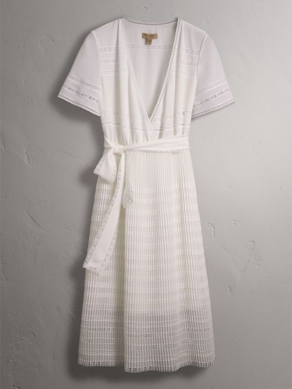 Pleated Georgette Wrap Dress in Natural White - Women | Burberry Canada - cell image 3