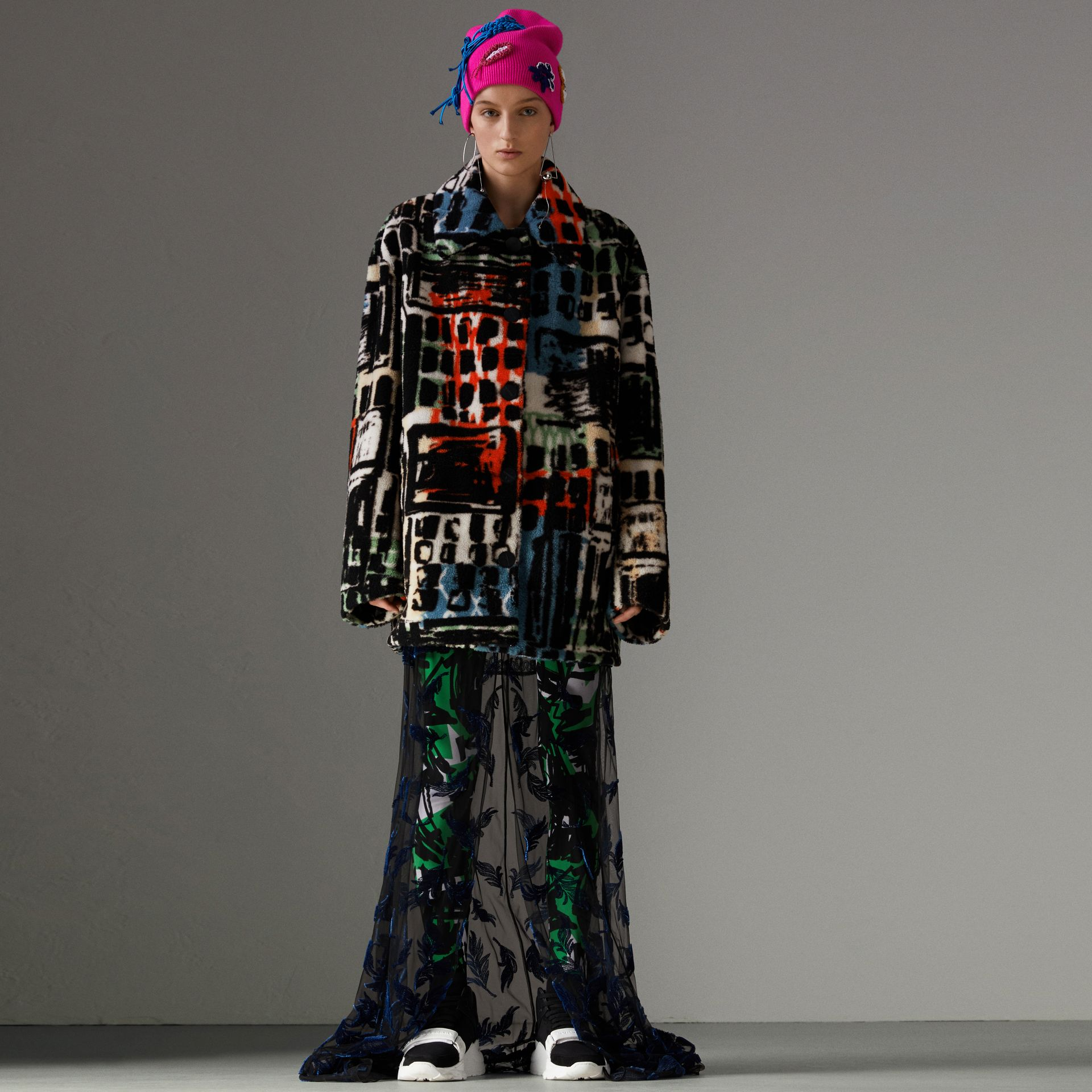 Graffiti Print Shearling Oversized Jacket in Steel Blue - Women | Burberry Hong Kong - gallery image 0