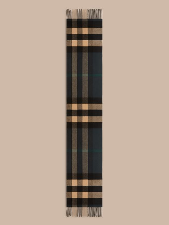 Dark green/ camel Oversize Check Cashmere Scarf Dark Green/ Camel - cell image 3