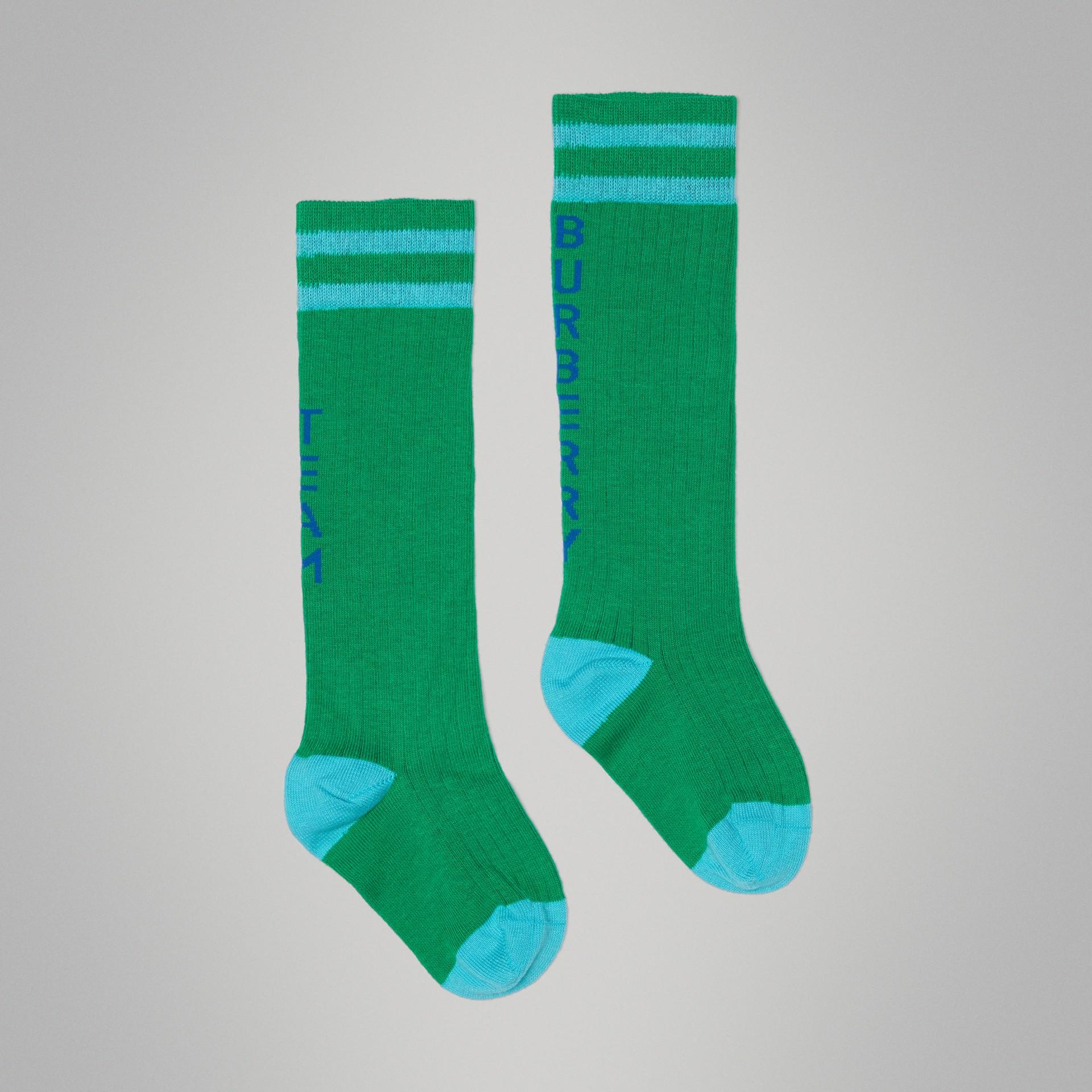 Meias de algodão listradas com logo (Verde Grama) - Crianças | Burberry - galeria de imagens 3