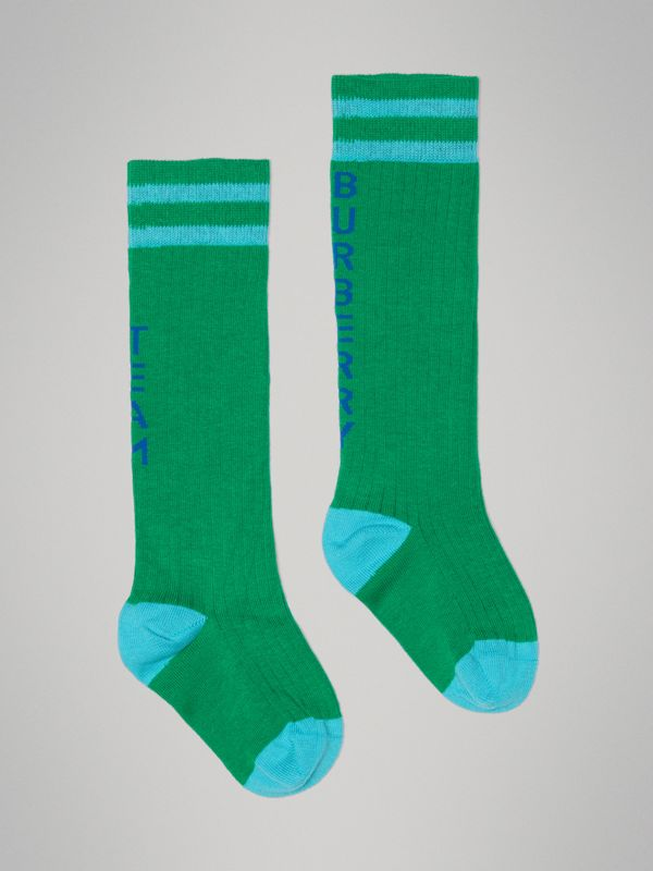 Logo Striped Cotton Blend Socks in Grass Green - Children | Burberry - cell image 3