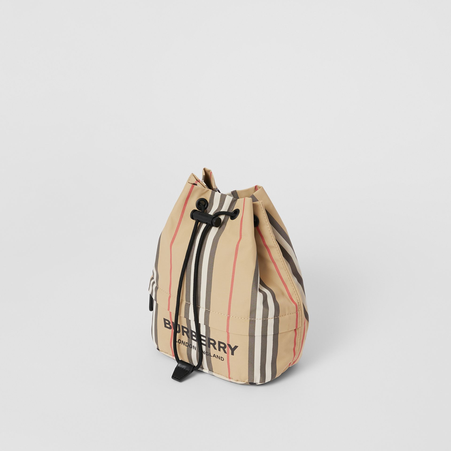 Logo Print Icon Stripe Nylon Drawcord Pouch in Archive Beige - Women | Burberry - gallery image 3