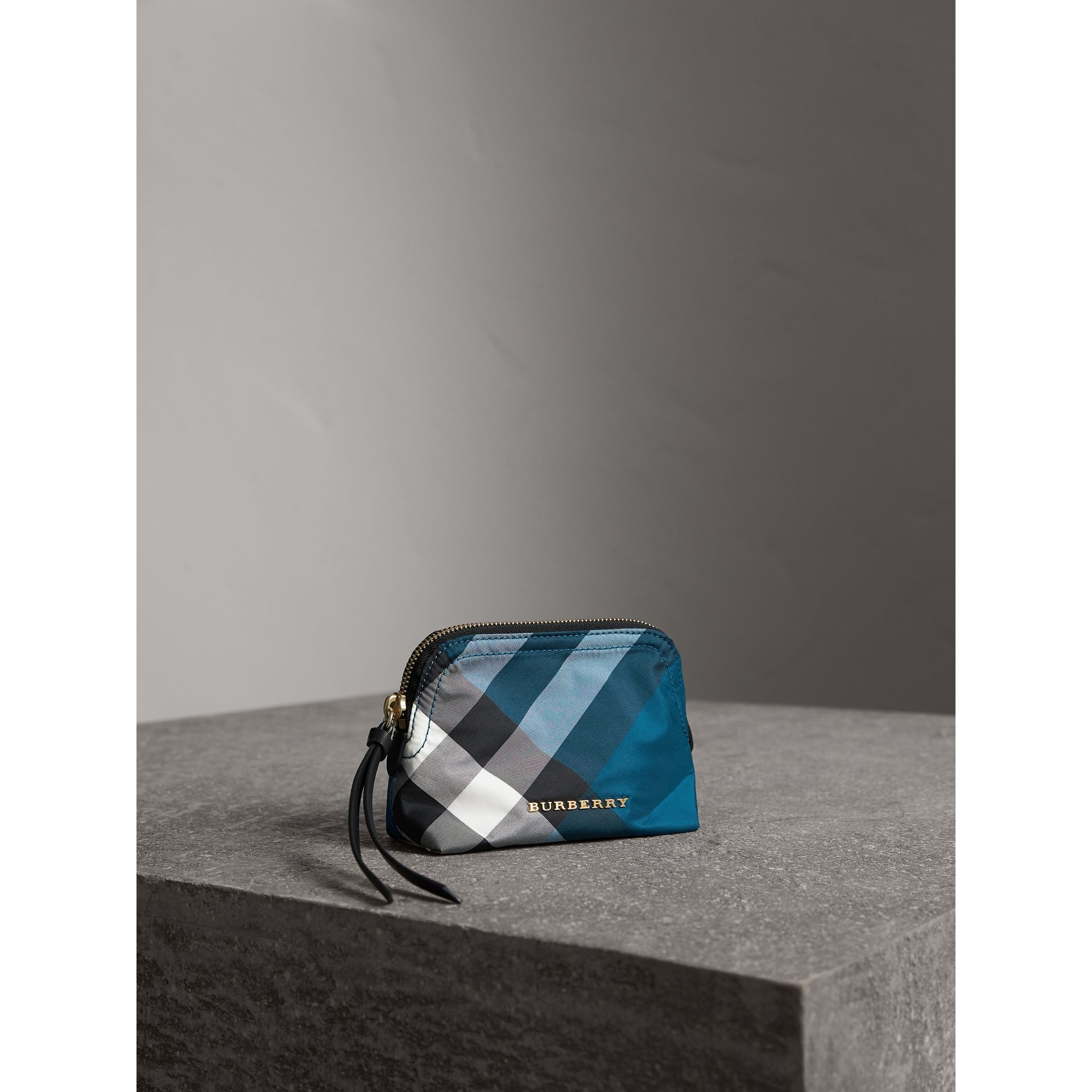 Small Zip-top Check Pouch in Marine Blue - Women | Burberry - gallery image 5