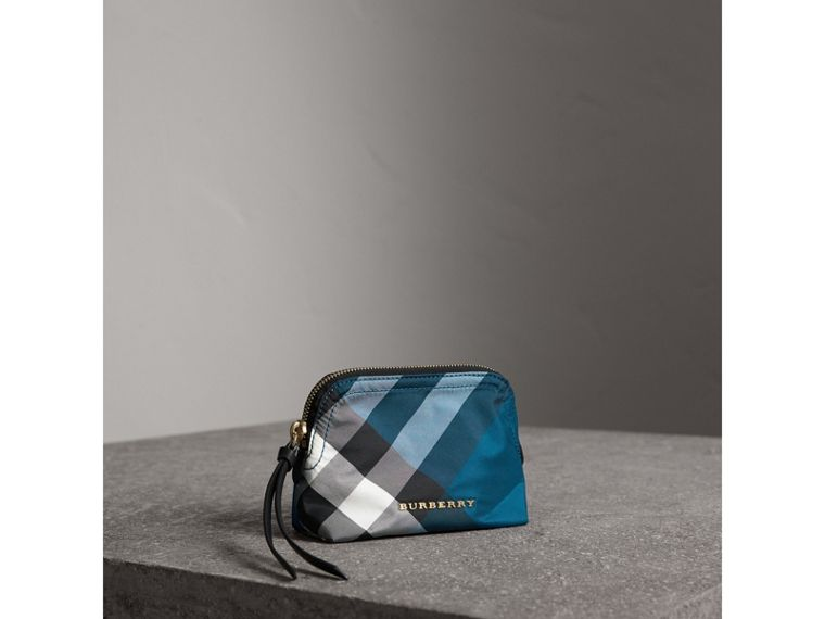Small Zip-top Check Pouch in Marine Blue - Women | Burberry - cell image 4