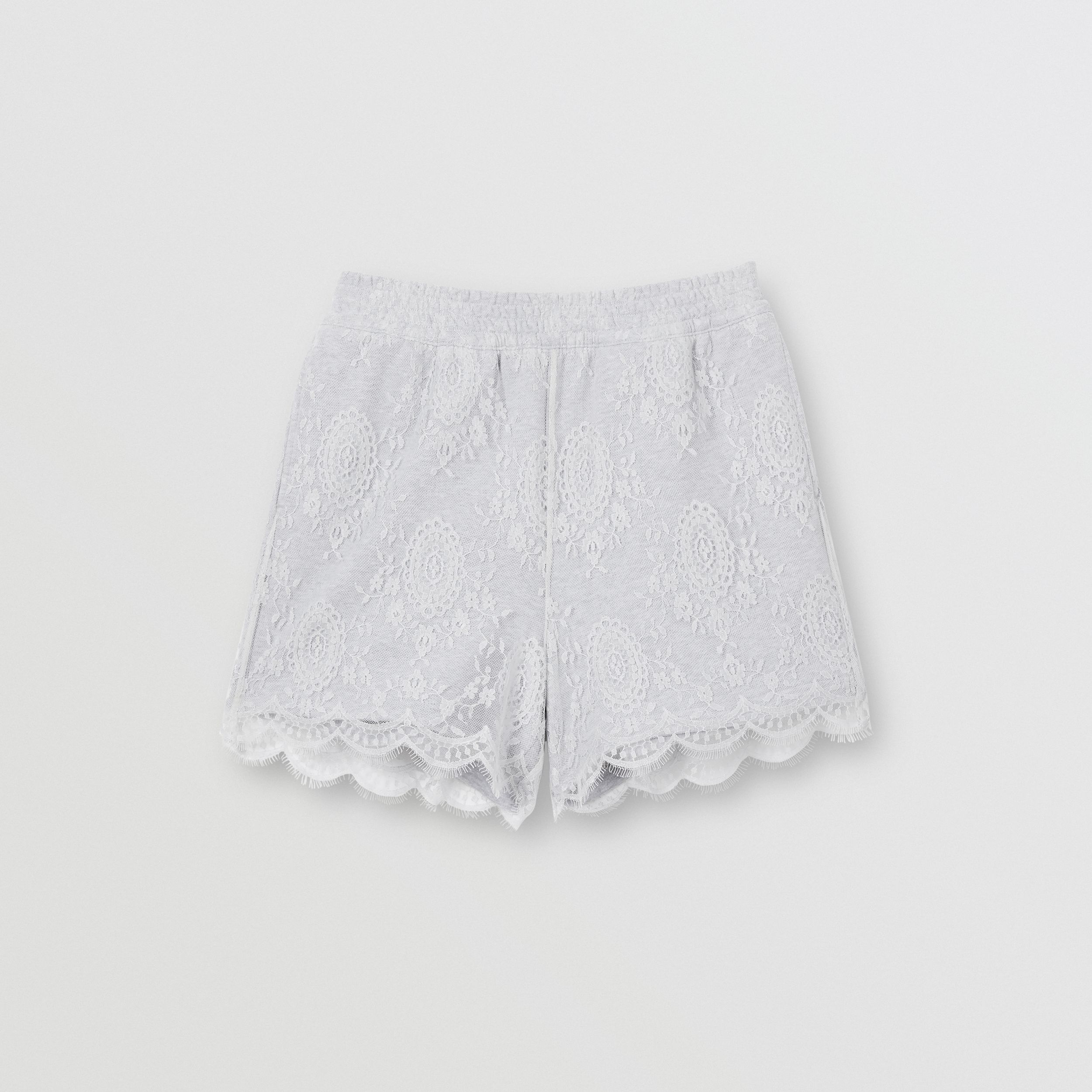 Lace and Cotton Shorts in Light Pebble Grey - Women | Burberry - 4
