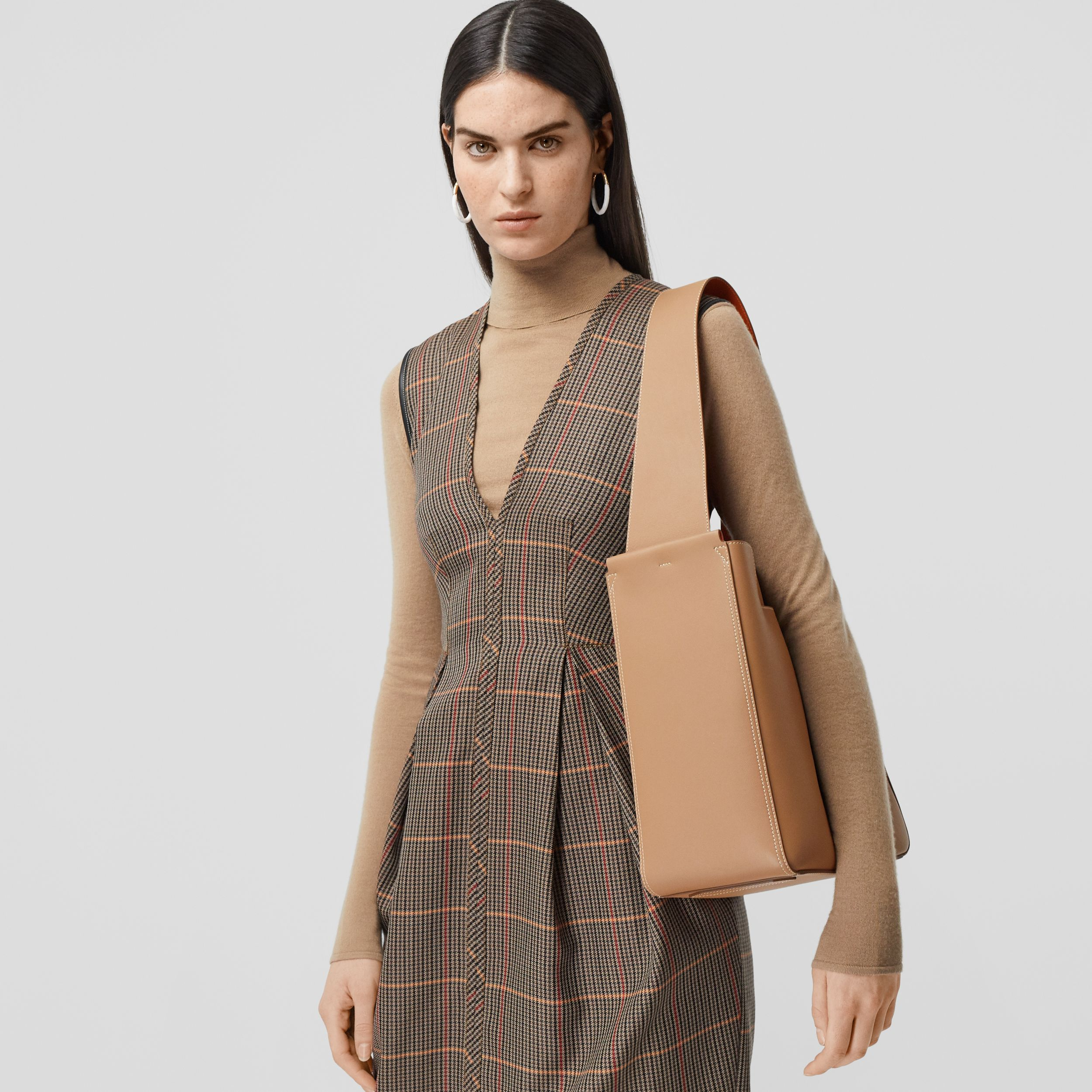Small Leather Basket Bag in Camel - Women | Burberry - 3
