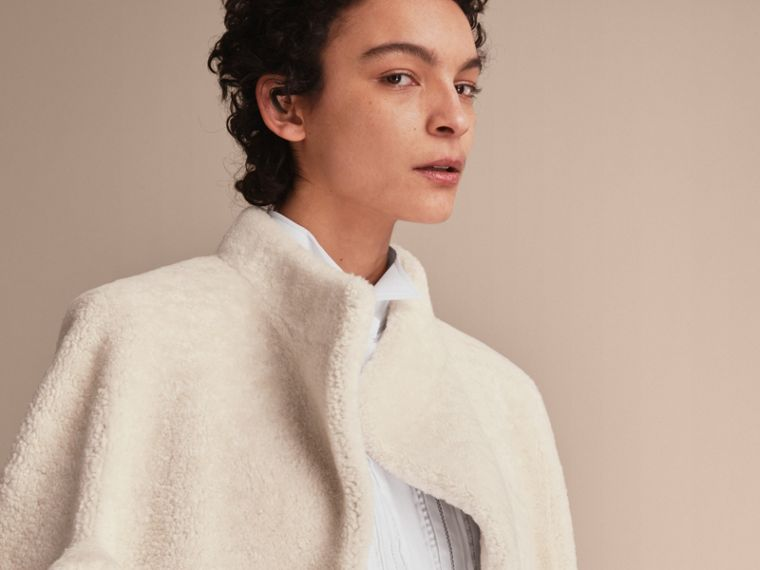 Sculptural Shearling Cape in White - Women | Burberry Canada - cell image 4