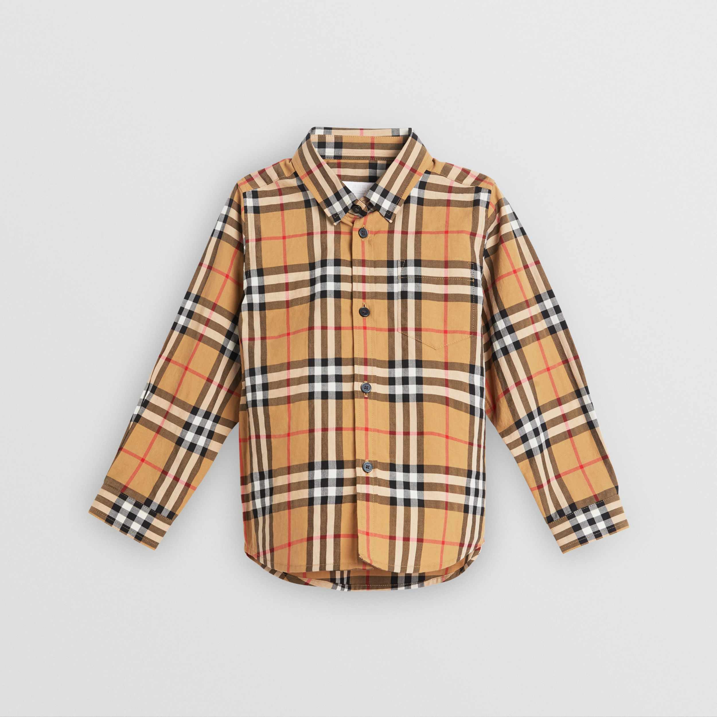 Vintage Check Cotton Shirt in Antique Yellow - Boy | Burberry Canada - 1