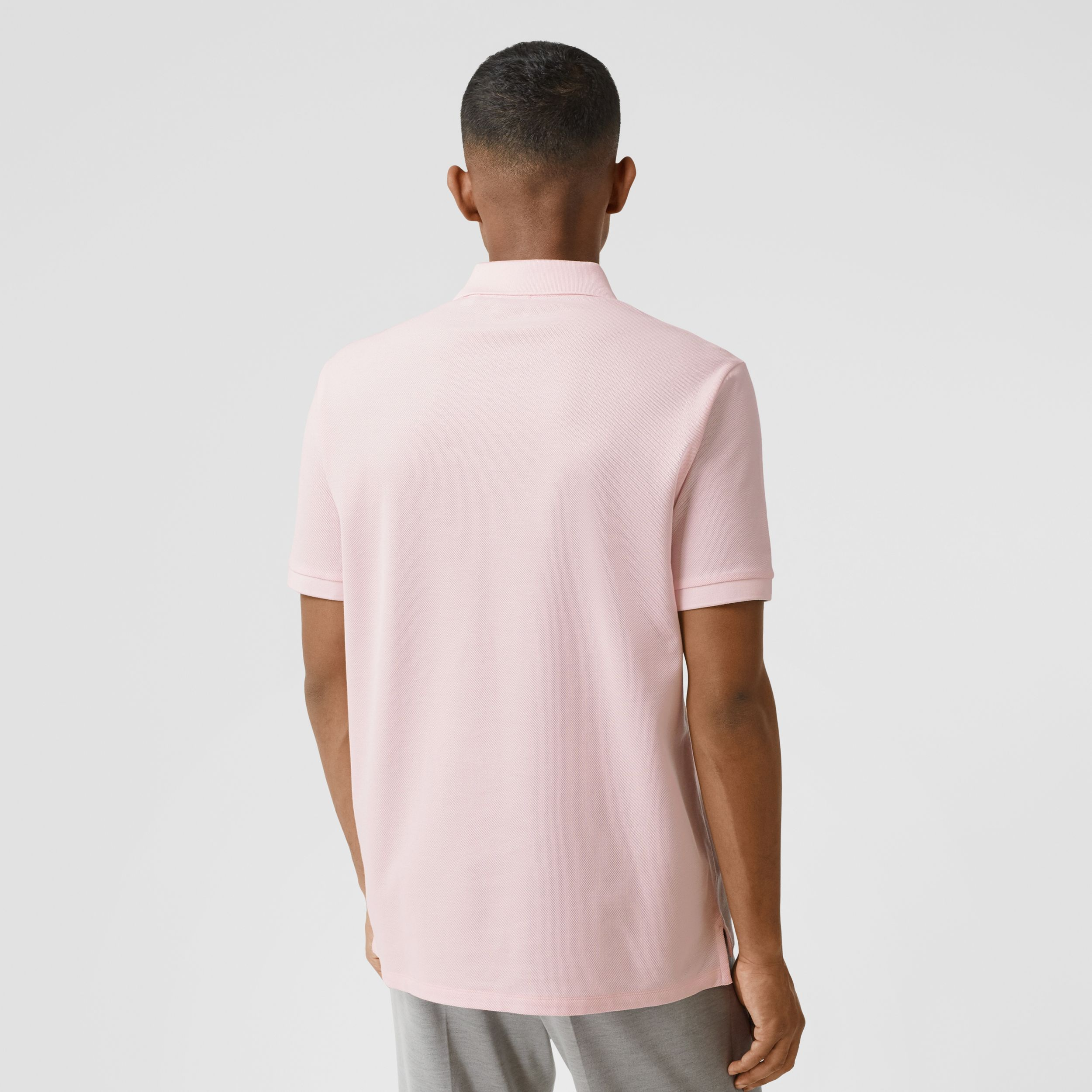 Deer Appliqué Cotton Piqué Polo Shirt in Alabaster Pink - Men | Burberry - 3