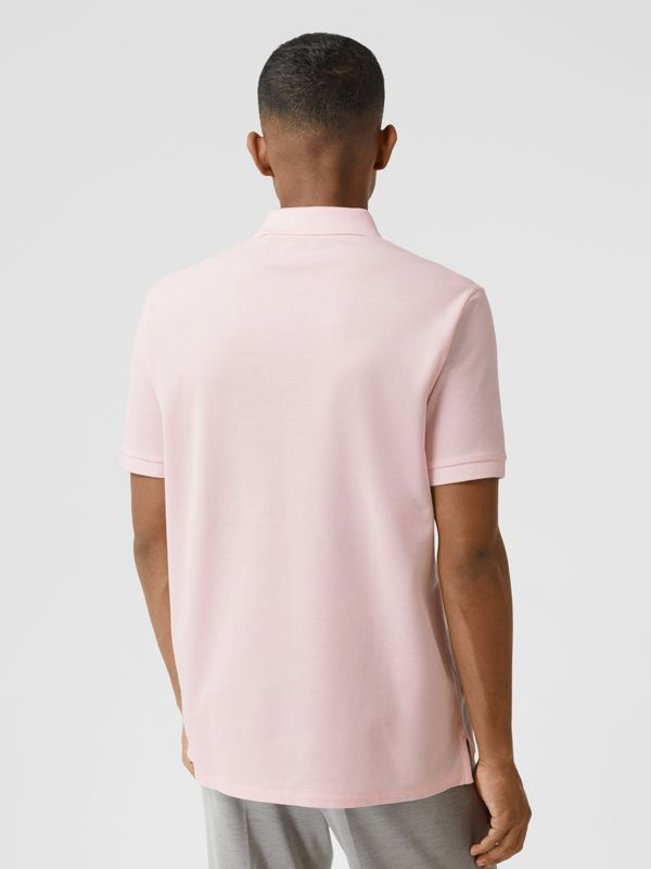 Deer Appliqué Cotton Piqué Polo Shirt in Alabaster Pink - Men | Burberry - cell image 2