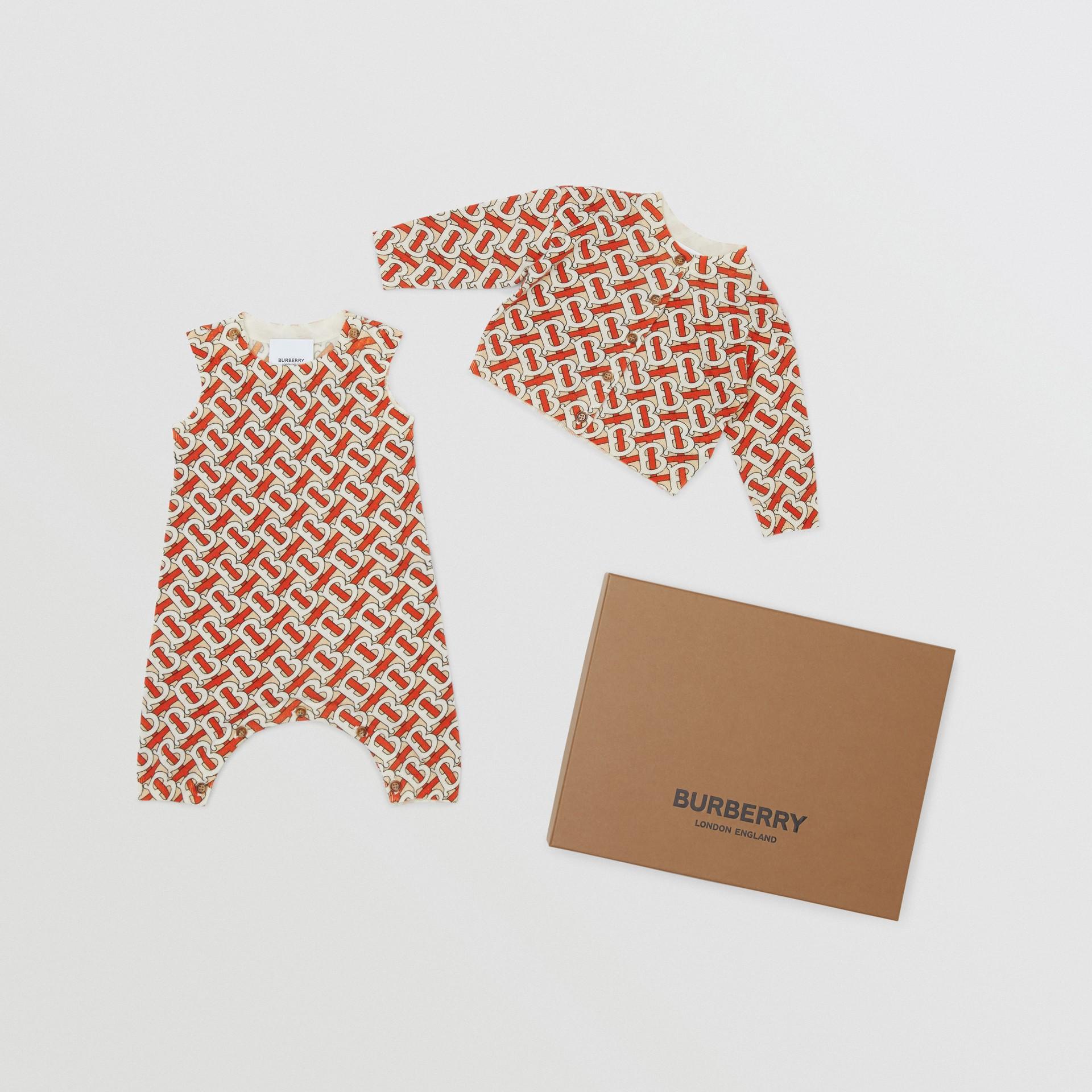 Monogram Print Merino Wool Two-piece Baby Gift Set in Vermilion - Children | Burberry - gallery image 0