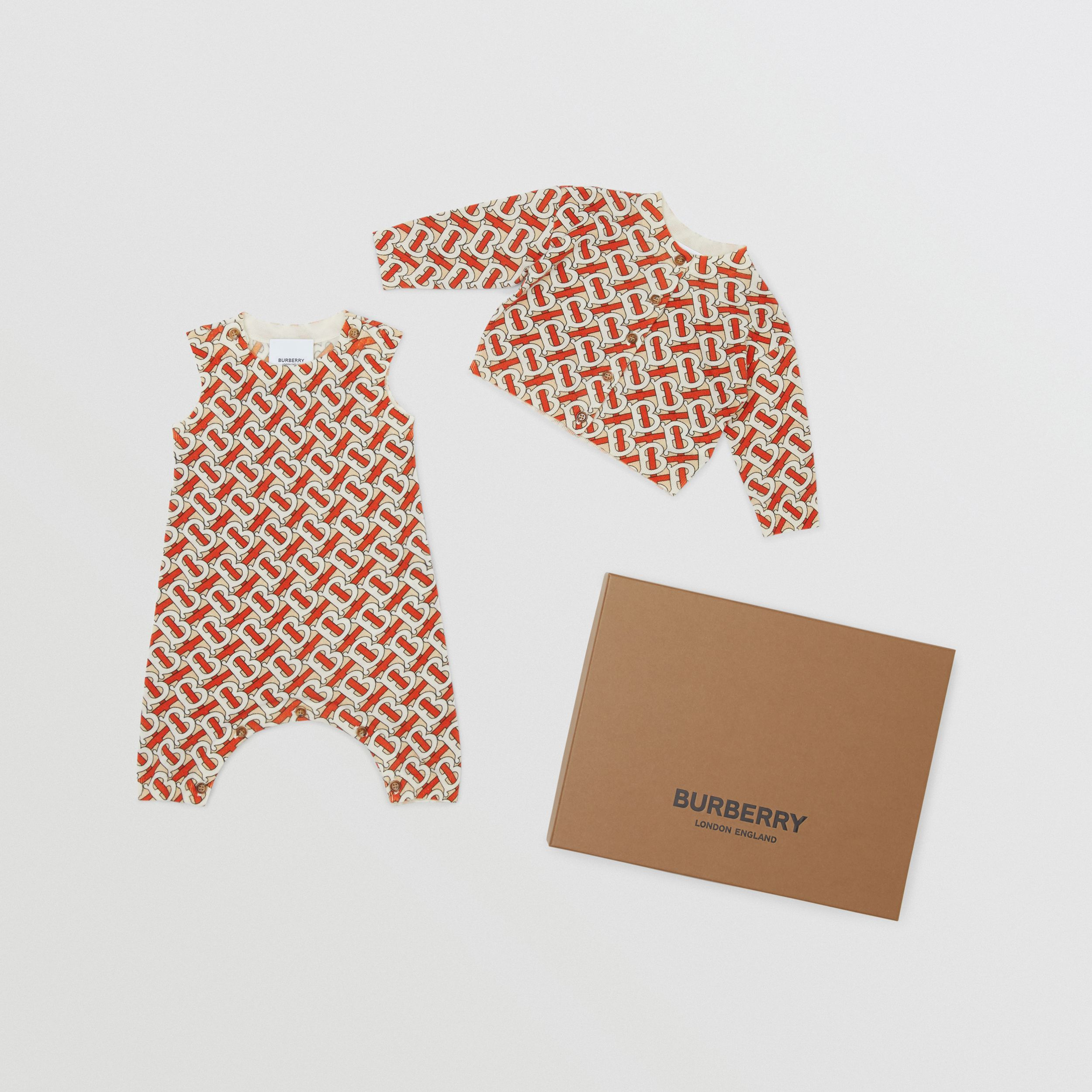 Monogram Print Merino Wool Two-piece Baby Gift Set in Vermilion - Children | Burberry United Kingdom - 1