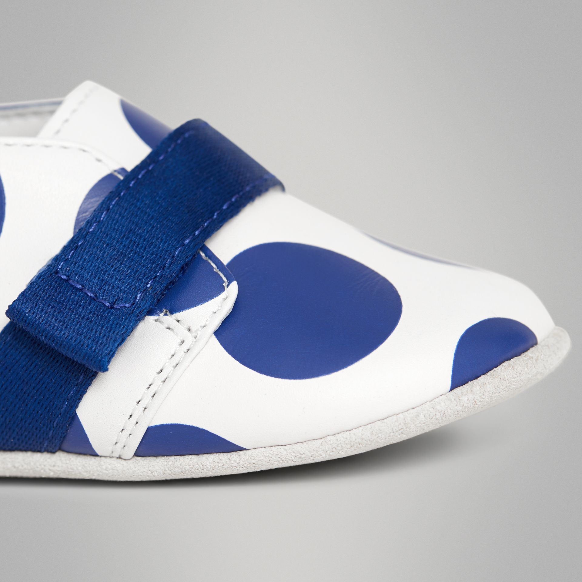 Spot Print Leather Shoes in Bright Blue - Children | Burberry Australia - gallery image 1