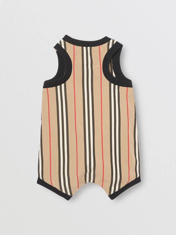 Icon Stripe Cotton Bodysuit in Archive Beige - Children | Burberry Singapore - cell image 3