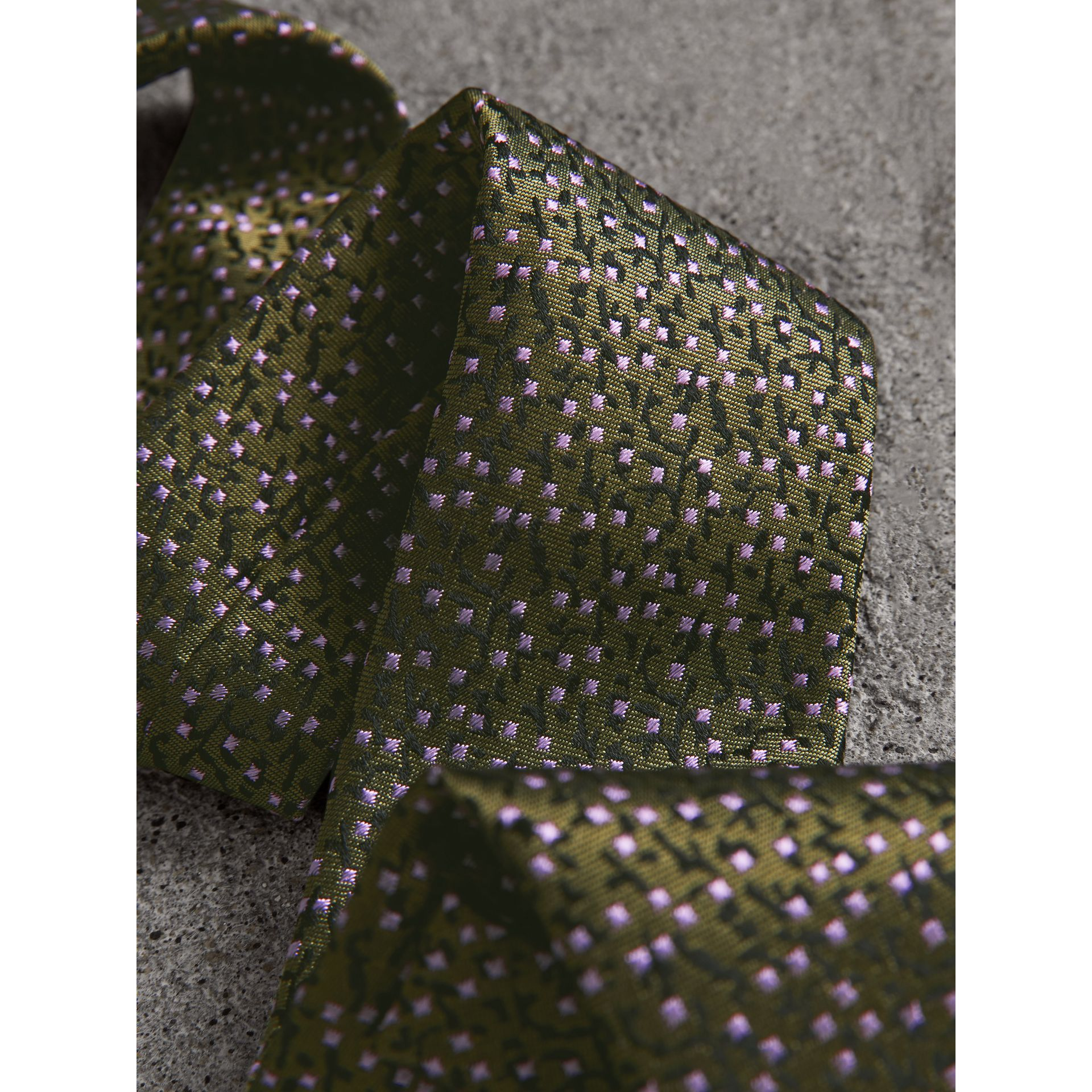 Modern Cut Floral Spot Silk Tie in Moss Green - Men | Burberry United Kingdom - gallery image 1