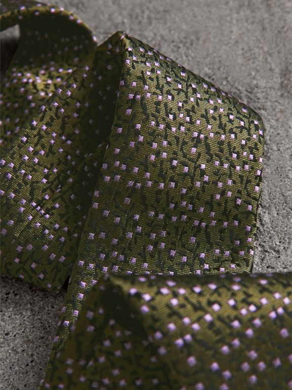 Modern Cut Floral Spot Silk Tie in Moss Green - Men | Burberry United Kingdom - cell image 1