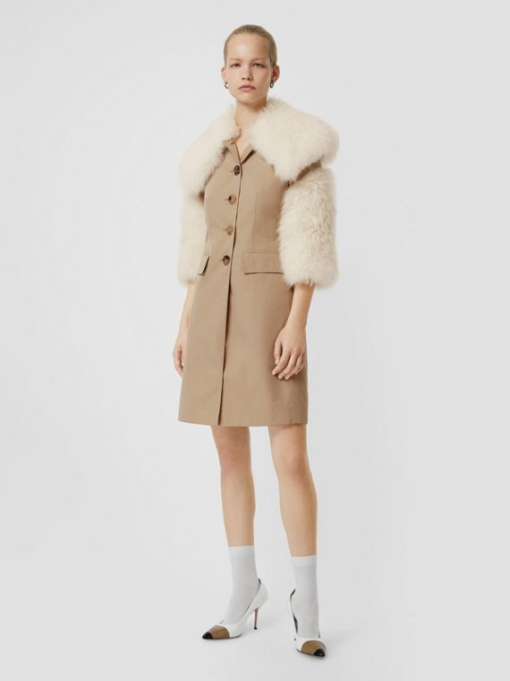Goat Hair Trim Cotton Gabardine Coat in Honey