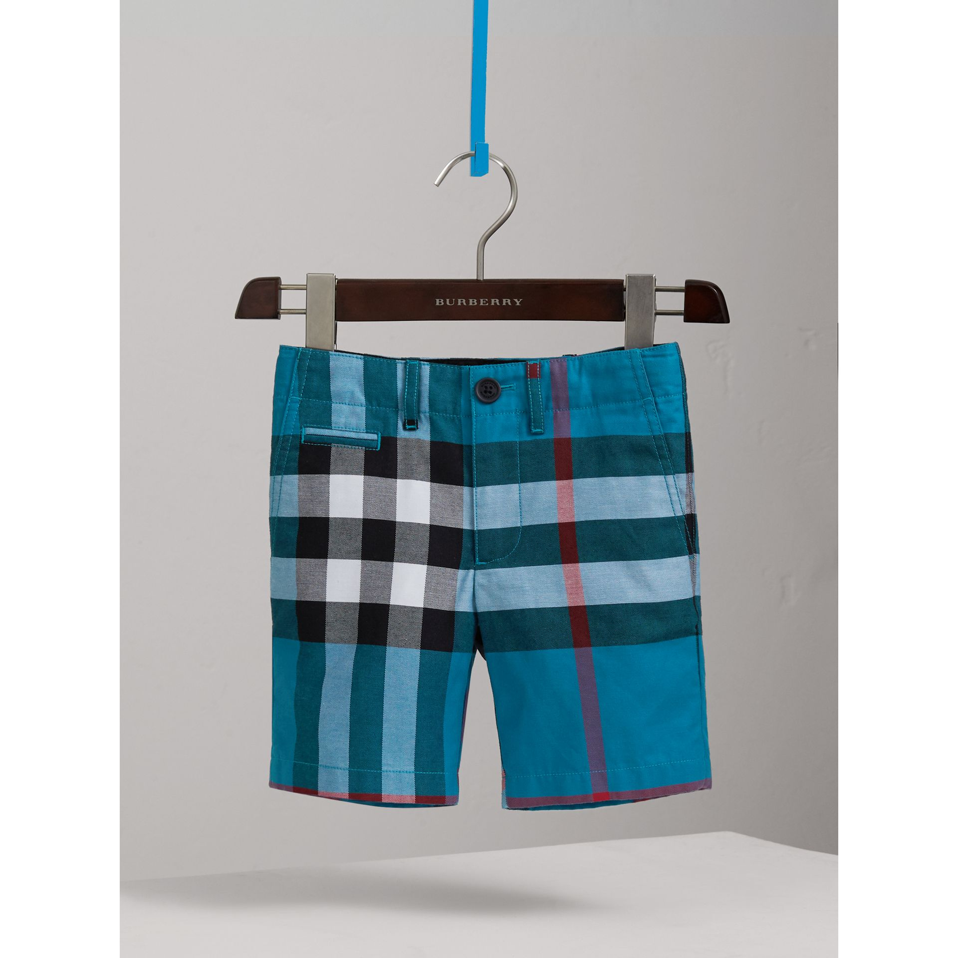 Check Cotton Shorts in Azure Blue - Boy | Burberry - gallery image 0