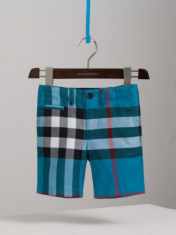Check Cotton Shorts in Azure Blue