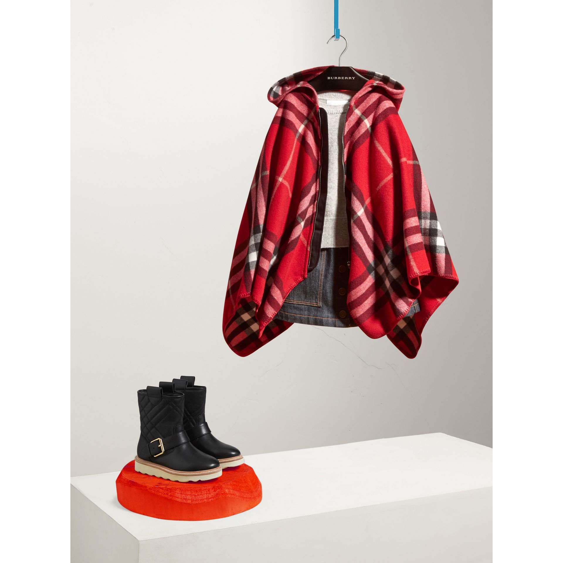 Check Wool Cashmere Hooded Poncho in Parade Red - Girl | Burberry - gallery image 1