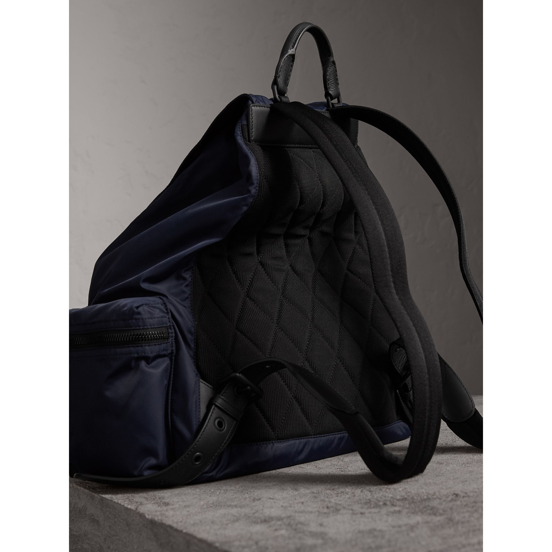 The Extra Large Rucksack in Technical Nylon and Leather in Ink Blue - Men | Burberry - gallery image 5