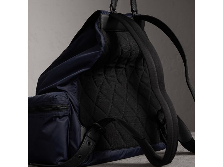The Extra Large Rucksack in Technical Nylon and Leather in Ink Blue - Men | Burberry - cell image 4