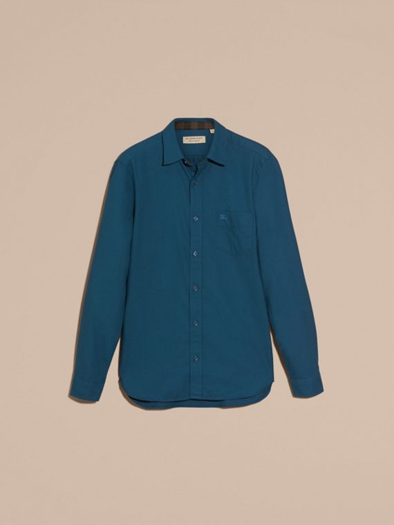 Check Detail Cotton Flannel Shirt in Mineral Blue - cell image 3