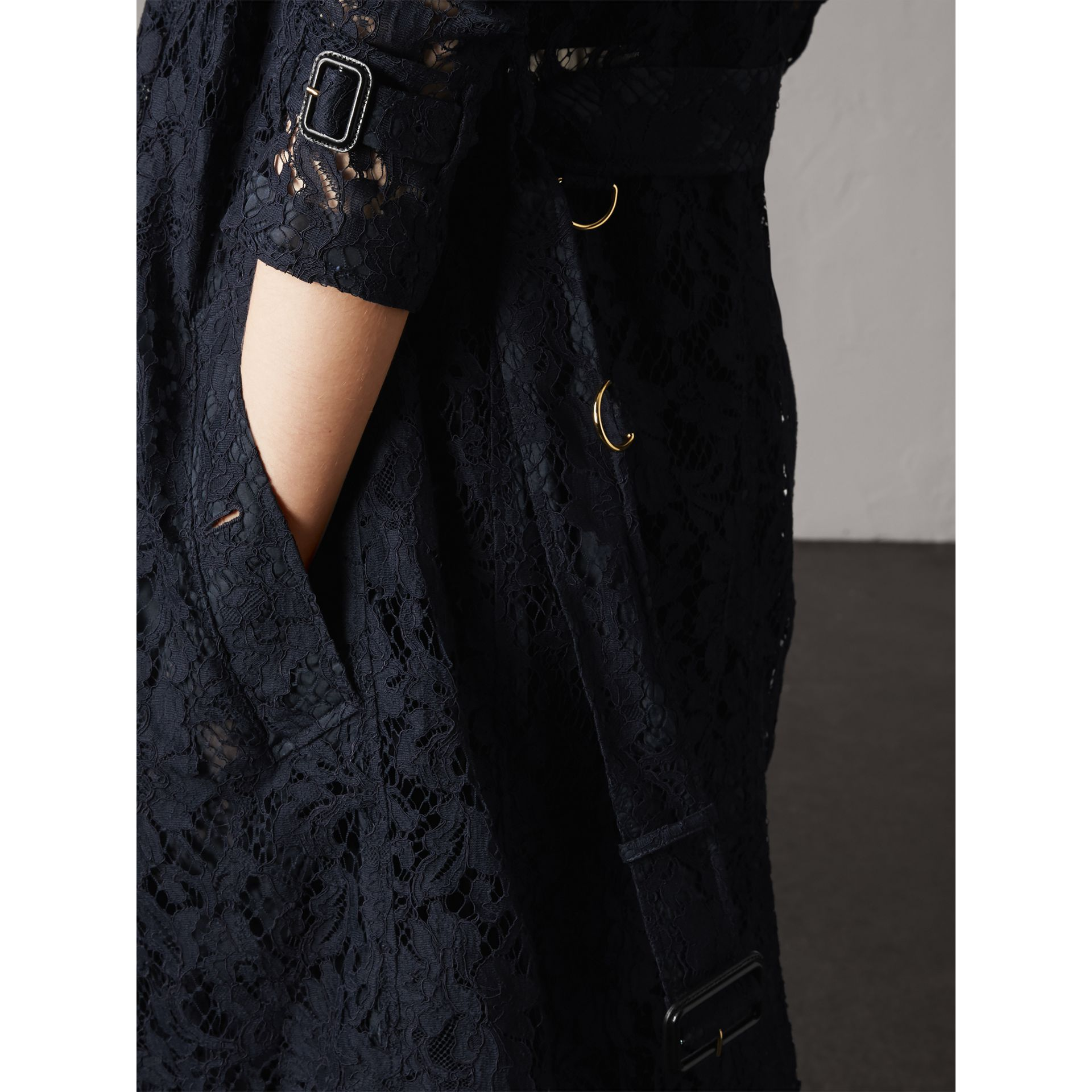 Macramé Lace Trench Coat in Navy - Women | Burberry - gallery image 4