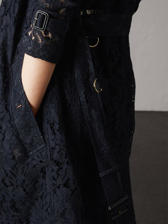 Macramé Lace Trench Coat in Navy - Women | Burberry - cell image 3