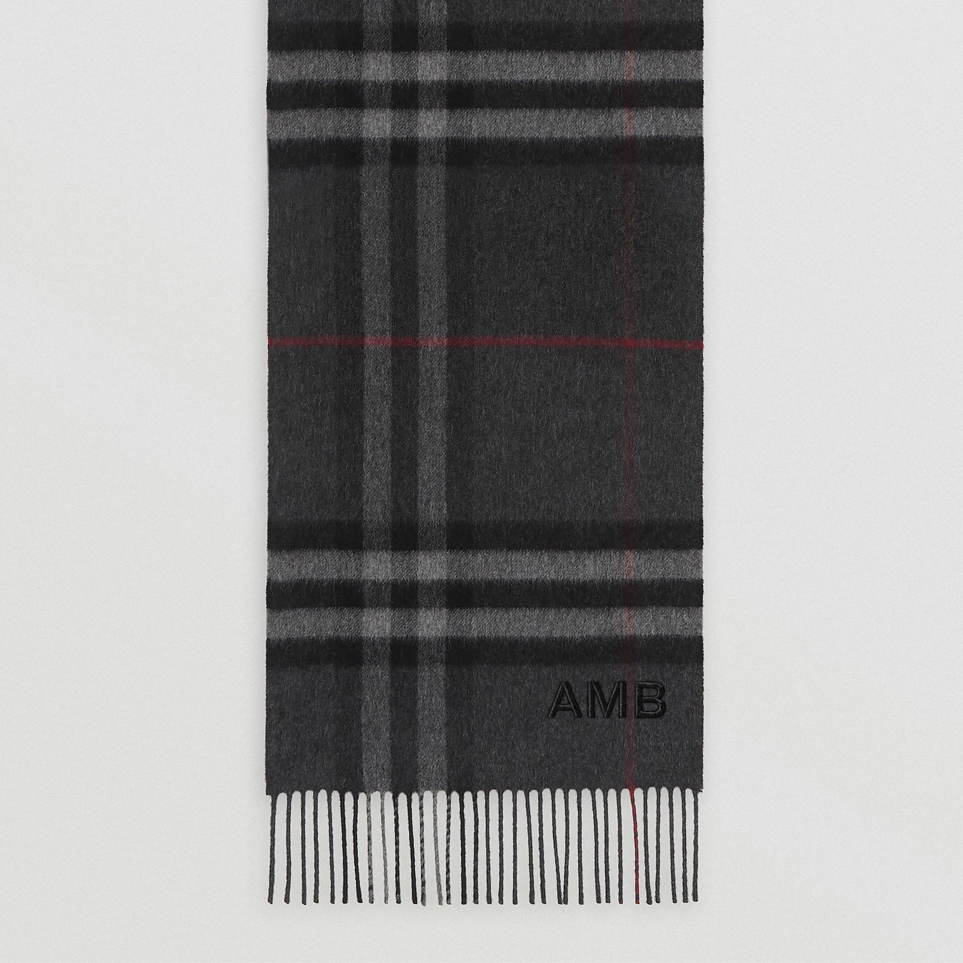 The Classic Check Cashmere Scarf in Charcoal | Burberry - gallery image 8