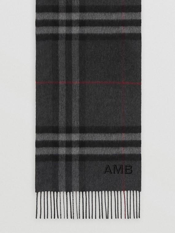 經典格紋喀什米爾圍巾 (炭灰色)