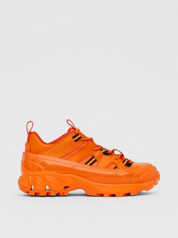 Zapatillas deportivas Arthur en piel y nailon (Naranja Intenso)