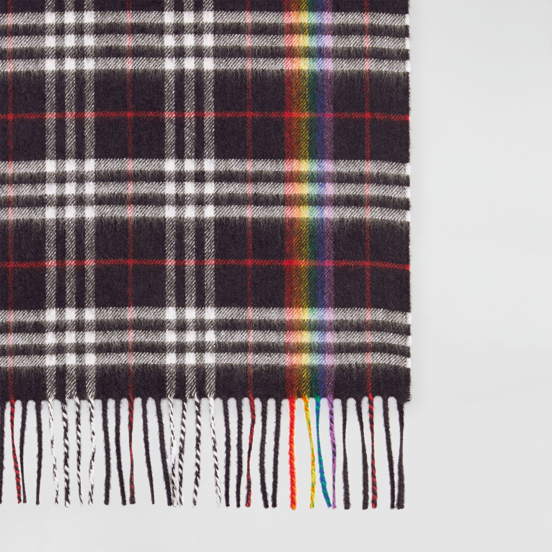 The Classic Rainbow Check Cashmere Scarf in Navy/rainbow | Burberry Australia - gallery image 1