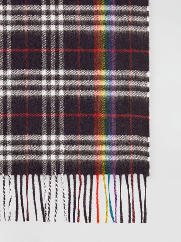 The Classic Rainbow Check Cashmere Scarf in Navy/rainbow | Burberry Australia - cell image 1