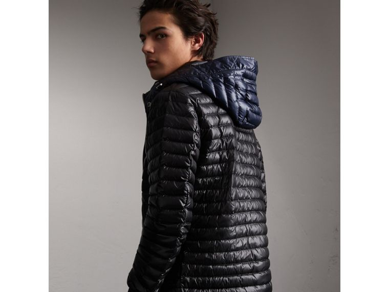Packaway Hood Down-filled Puffer Jacket in Black - Men | Burberry - cell image 1