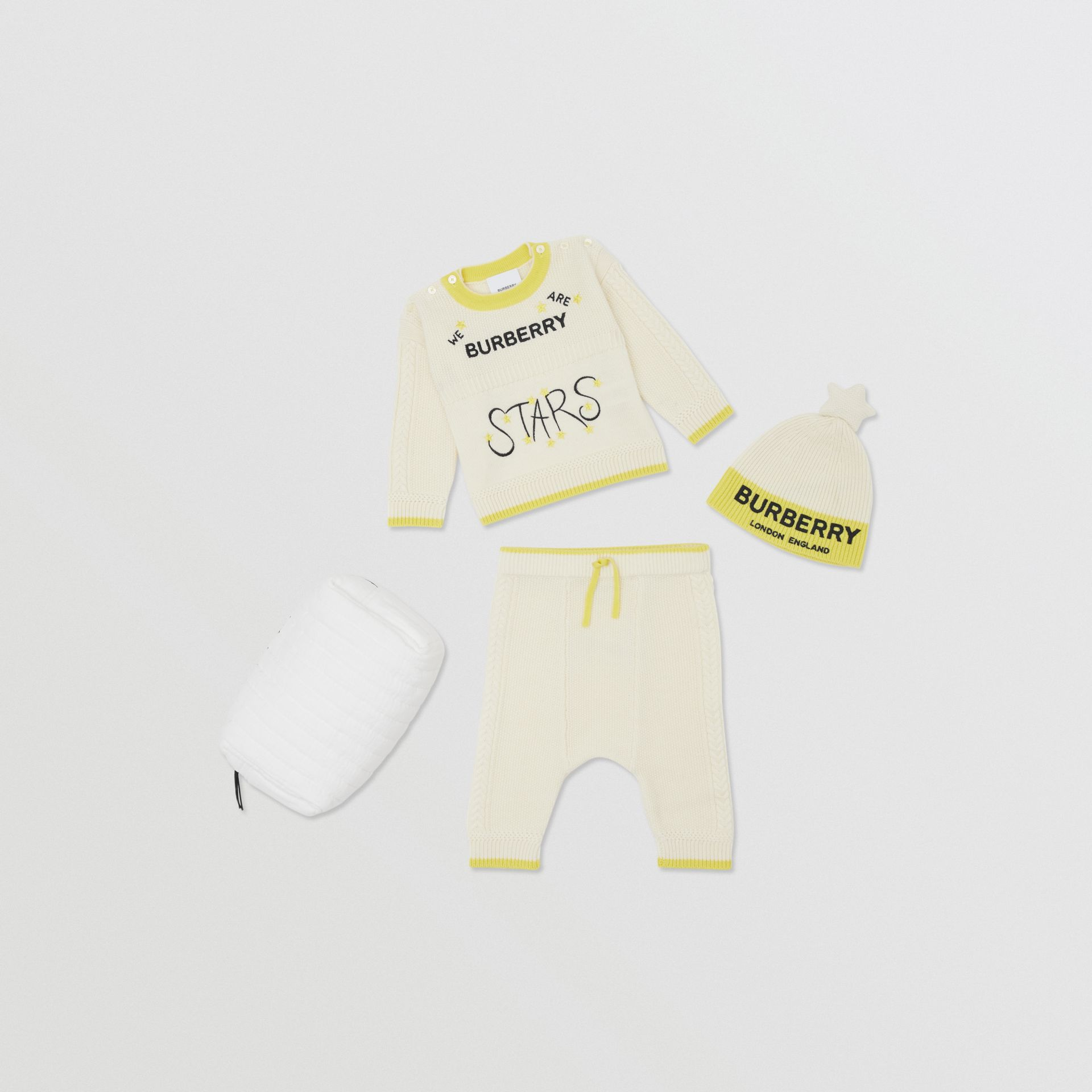 Star Motif Wool Cashmere Three-piece Baby Gift Set in Ivory - Children | Burberry - gallery image 0