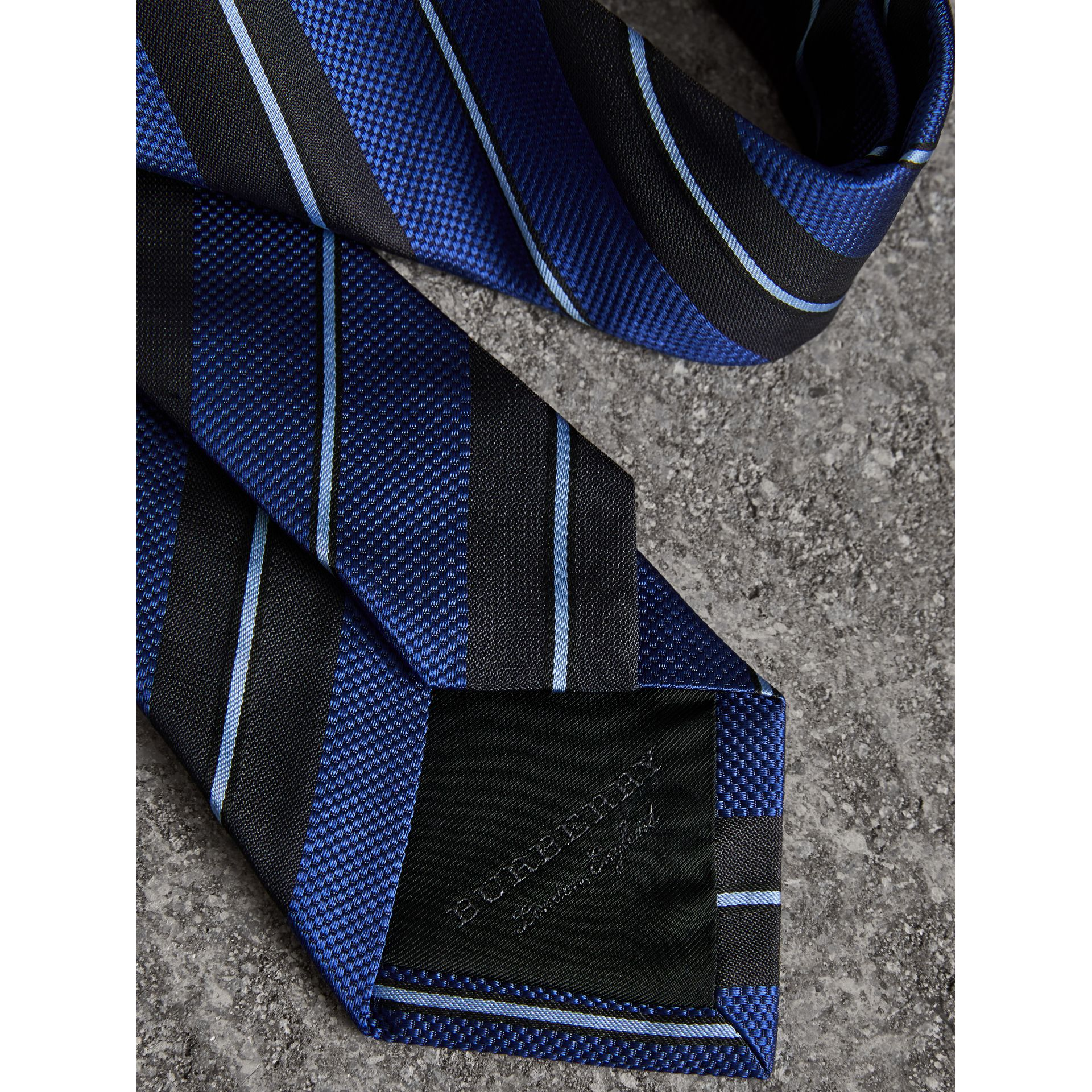 Modern Cut Striped Silk Tie in Navy - Men | Burberry Canada - gallery image 1