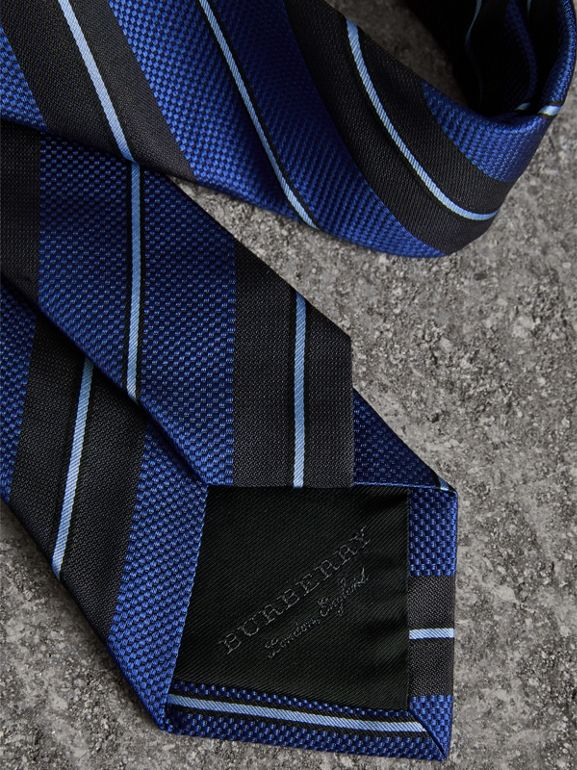 Modern Cut Striped Silk Tie in Navy - Men | Burberry United States - cell image 1