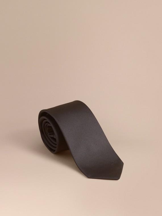 Modern Cut Silk Twill Tie Charcoal